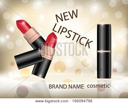 Glamorous colorful lipstick on the sparkling effects background. Mockup 3D Realistic Vector illustration for design template