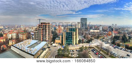 Sofia - Bulgaria. Aerial view over the city panorama and skyline