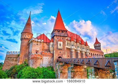 Medieval castle in Hunedoara, famous Corvin Castle, monument of Gothic architecture in Romania