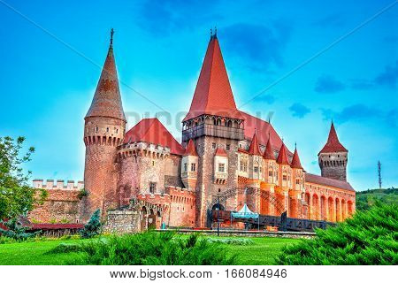 Medieval castle of Hunedoara known as Corvin Castle one of the most artistic monuments of Gothic architecture in Romania governed by Iancu de Hunedoara