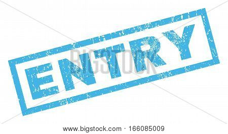 Entry text rubber seal stamp watermark. Tag inside rectangular banner with grunge design and unclean texture. Inclined vector blue ink emblem on a white background.