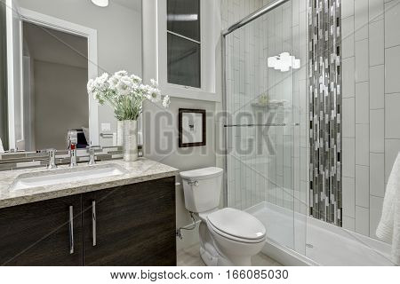 Glass Walk-in Shower In A Bathroom Of Luxury Home