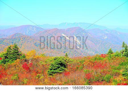Autumn colors at Kurikoma highlands in Akita and Iwate Japan