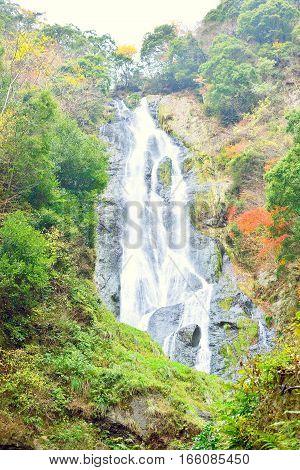 Kanba waterfall closeup in Okayama Japan. Lush greenery.