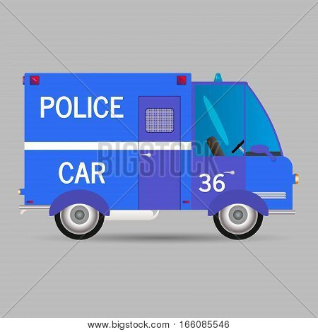 Police car.Vector illustration window car carriage profile patrol