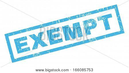 Exempt text rubber seal stamp watermark. Caption inside rectangular shape with grunge design and dust texture. Inclined vector blue ink emblem on a white background.