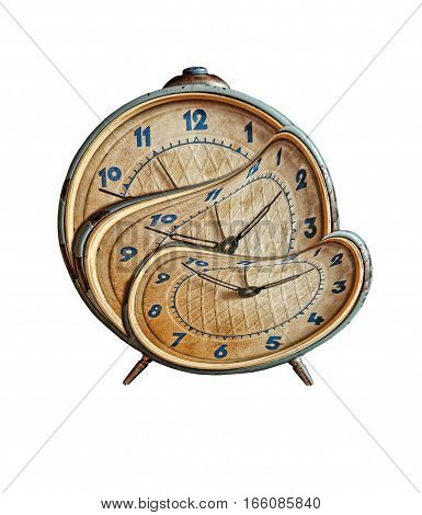 Liquid and flexible time concept.Surreal Alarmclock transforming on white background.Isolated.