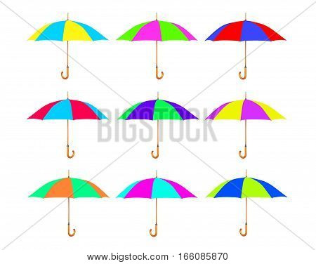 Set of multicolored umbrella isolated on white background.
