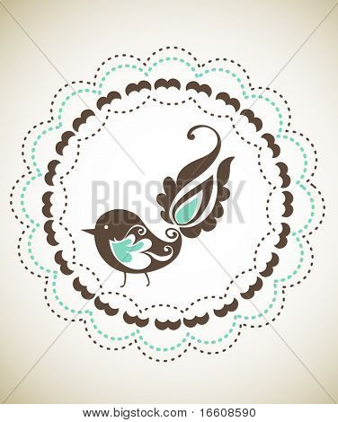 circle frame with little bird