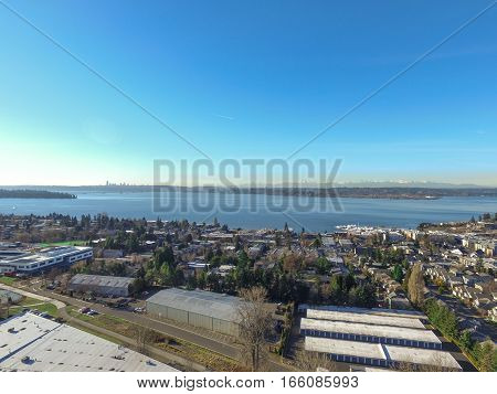 Aerial View Of Lake Washington. Residential Area Of Kirkland