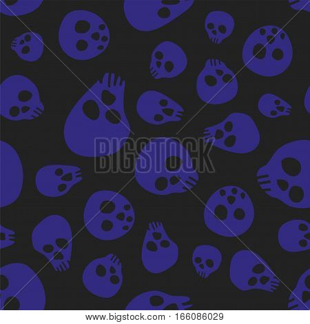 Pattern with sculls and bones black and dark blue