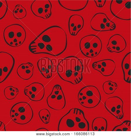Pattern background with sculls and bones black and red