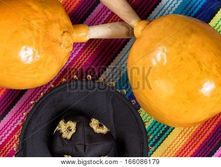 Flat view of maracas sombrero and sombrero for Cinco de Mayo concept.