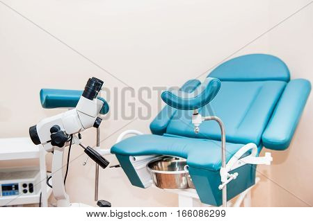 Colposcope And Gynecologicalchair In Medical Centre. Selective Focus