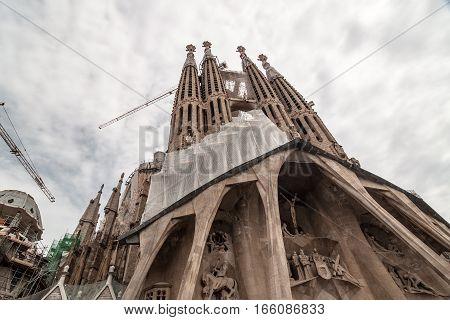 Barcelona, Spain - September 20, 2014: Sagrada Familia - Basilica and Expiatory Church of the Holy Family is a Roman Catholic church in Barcelona, designed by Antoni Gaudi. Barcelona, Catalonia, Spain