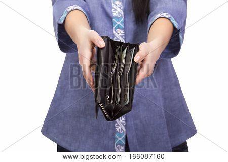 empty purse in women's hands; no money