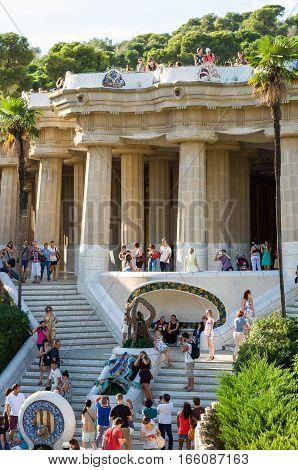 Barcelona, Spain - September 20, 2014: Entrance at the Park Guell designed by Antoni Gaudi, Barcelona, Catalonia, Spain