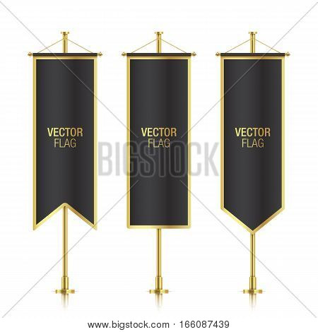 Black elegant vertical flag mockups with golden strokes, isolated on a white background. Set of black vector banner flag templates hanging on a golden poles.