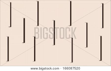 Abstract beige vertical sticks with brown shadow on a beige background picture