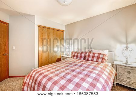 Lovely Bedroom Interior With Red Checked Bed