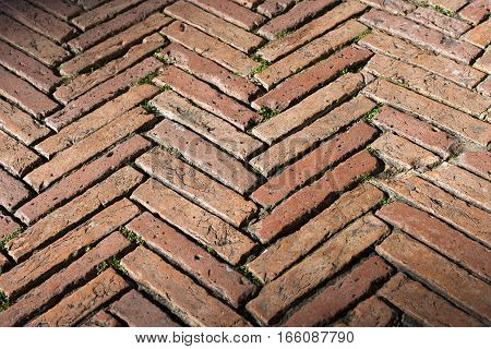 Detail of the zig zag pavement with old bricks in the Piazza del Campo (Campo square) Siena Toscana (Tuscany) Italy