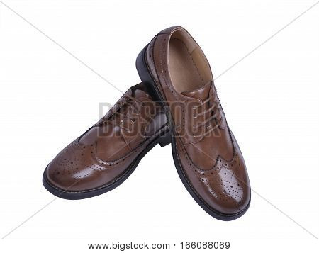 men's fashion shoes brown isolated on white background