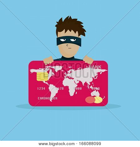 Thief holding credit card in hand. Man in black mask stealing money.