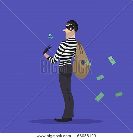 A thief with a stolen diamond, and a bag of money. Robber with a bag of stolen goods.