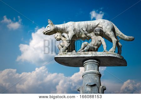 Lupa Senese (she-wolf of Siena) with Senio and Ascanio sons of Remo founders of the city. Marble statue symbol of the city of Siena