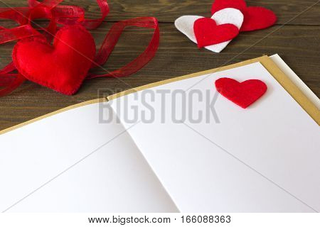 notes, heart made of felt and red tape