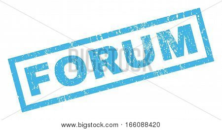 Forum text rubber seal stamp watermark. Tag inside rectangular shape with grunge design and dust texture. Inclined vector blue ink sticker on a white background.