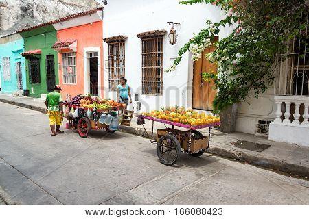 Fruit Vendors In Cartagena