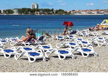 VODICE, CROATIA - SEPTEMBER 6, 2016: This is beach coast of Croatia in the velvet season.