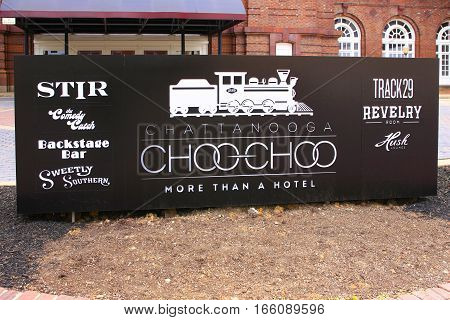Chattanooga, TN, USA - April 10: The sign outside the Chattanooga Choo-Choo hotel in Chattanooga Tennessee