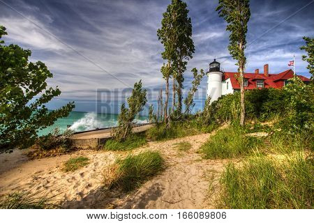Point Betsie Lighthouse. The historical Point Betsie Lighthouse on the shores of Lake Michigan in the Sleeping Bear Dunes National Lakeshore in Michigan.