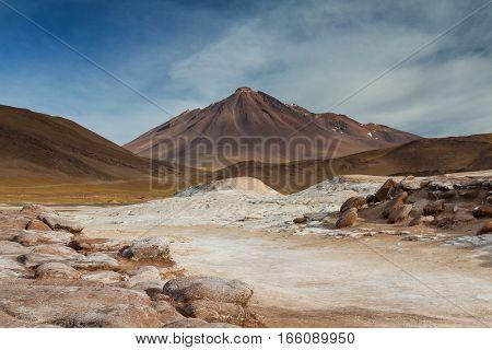 Landscape of Pierdras Rojas Atacama desert Chile