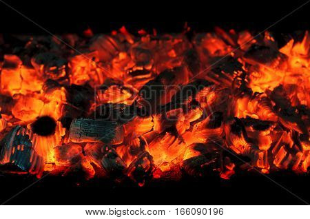 hot coals. heat and flame of fire in the fireplace