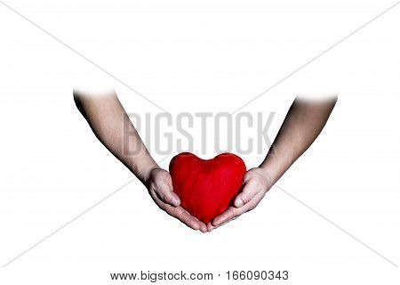 male hands holding a heart on white background Valentine's Day
