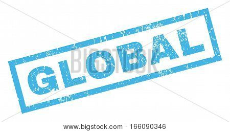 Global text rubber seal stamp watermark. Tag inside rectangular banner with grunge design and unclean texture. Inclined vector blue ink sticker on a white background.