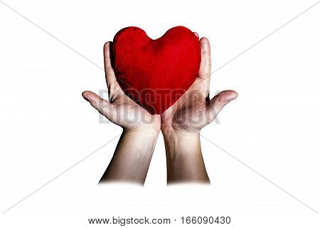 in the men's hands lies the heart on a white background Valentine's Day
