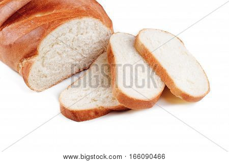 loaf with sliced isolated on a white background