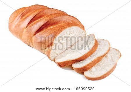 loaf bread with sliced on white backdrop