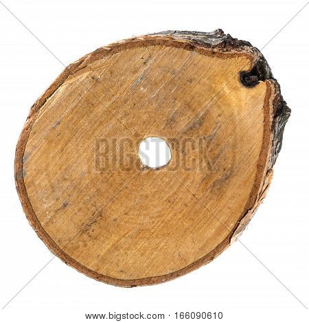 The cut of a birch with a hole in the center on a white background