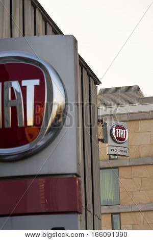 Prague, Czech Republic - January 20: Fiat Group Company Logo On Dealership Building On January 20, 2