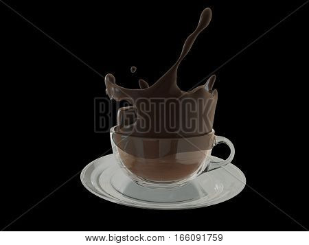 Hot chocolate splash in glass cup, splashing coffee. 3D illustration
