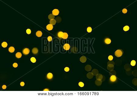 Luxury holiday blur abstract background with disco light. Festive yellow sparkling wallpaper