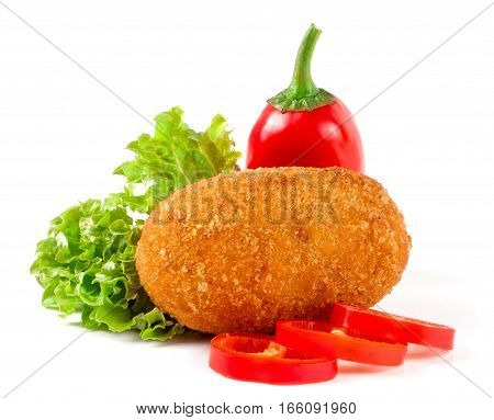 fried breaded cutlet with lettuce isolated on white background.