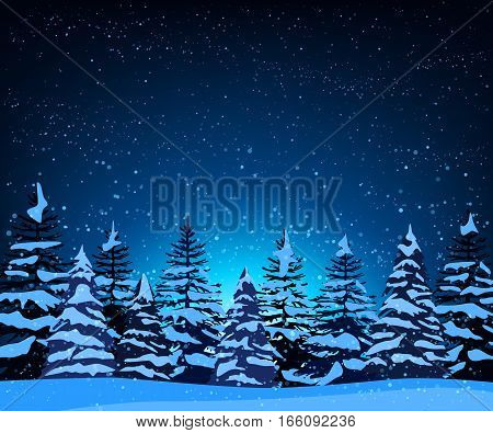 Stock vector illustration of night landscape with silhouettes of snow-covered fir trees among snowfall in snowdrifts on starry sky background for background, banner, website, printed materials, cards