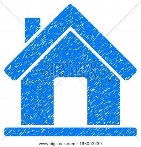 Home grainy textured icon for overlay watermark stamps. Flat symbol with scratched texture. Dotted vector blue ink rubber seal stamp with grunge design on a white background.