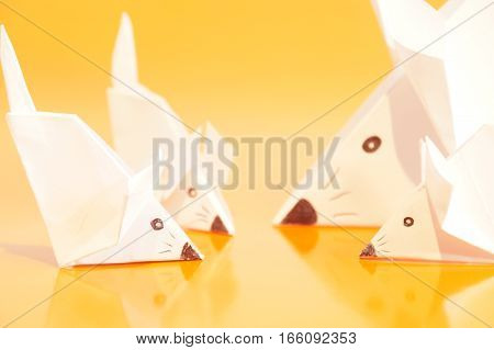 Paper origami mouse isolated on the colorful background